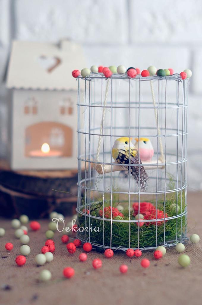 Весенняя композиция для интерьера. «Птички вклетке»