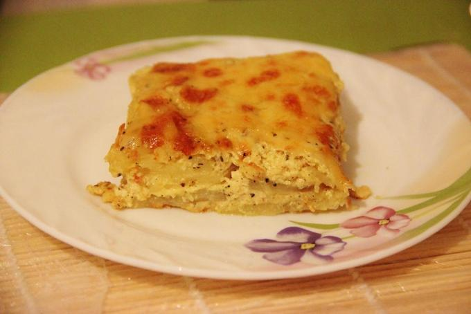 Нежная картофельная запеканка гауранга садыгейским сыром