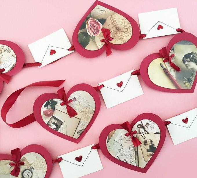 Как сделать бумажную гирлянду коДню святого Валентина