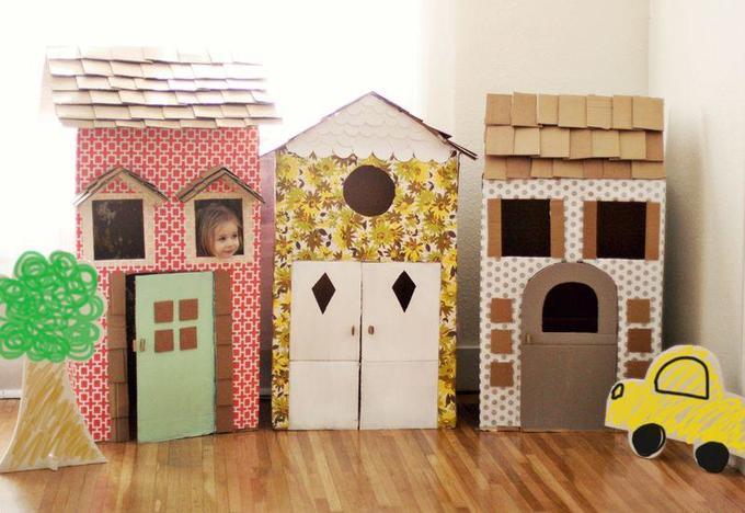 Как сделать детские игровые домики изкартонных коробок