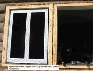 Монтаж окна в срубе