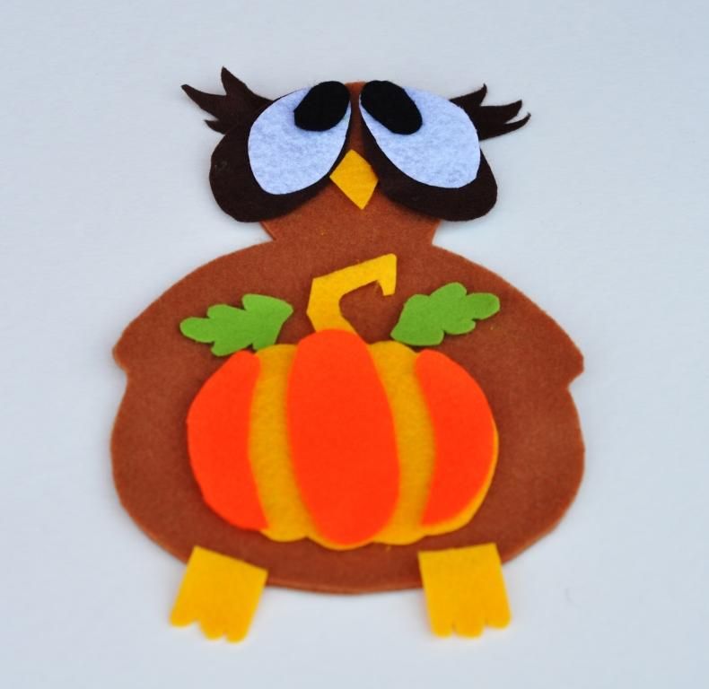 Осенний декор: фигурка совы изфетра
