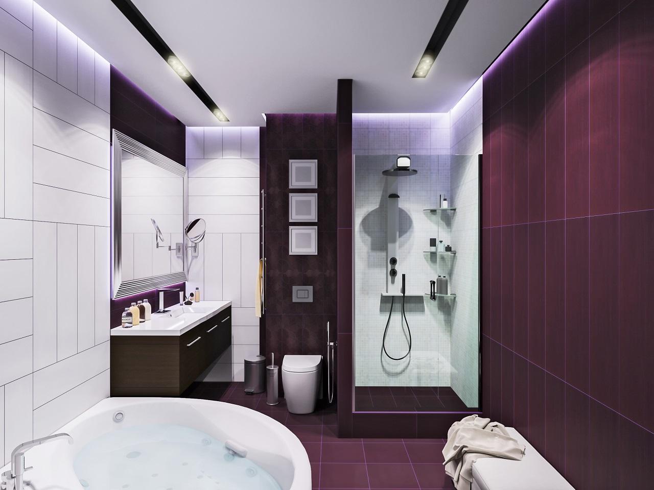 как выбрать цвет плитки для ванной комнаты сиреневой