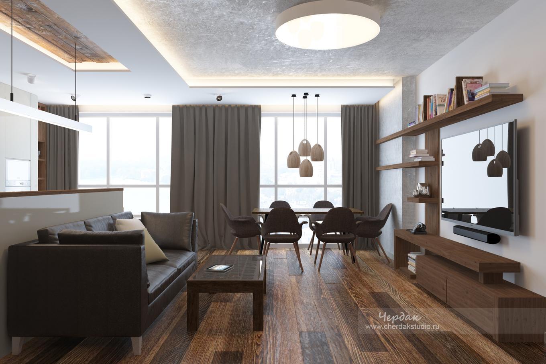 Лофт вдвухкомнатной квартире. Реальный проект площадью 95кв.м.