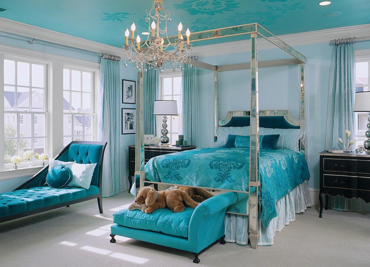 Дизайн бирюзовой спальни: изысканный истильный интерьер