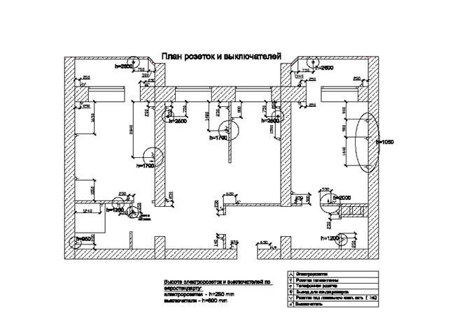 План розеток и выключателей