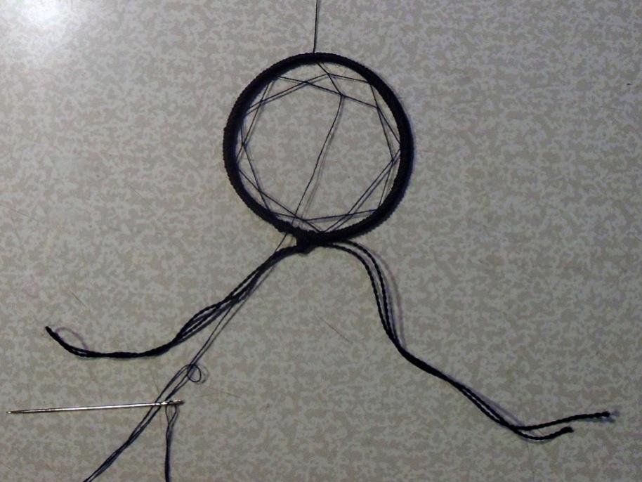 Схема плетения узора паутины