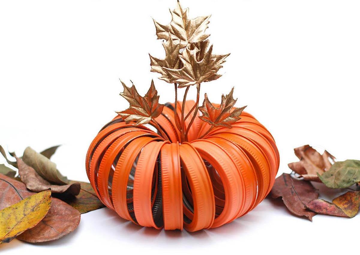 Тыква кХэллоуину изкрышек для баночек Mason Jar