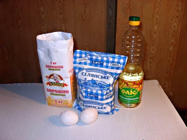 Ингредиенты для тонких блинов