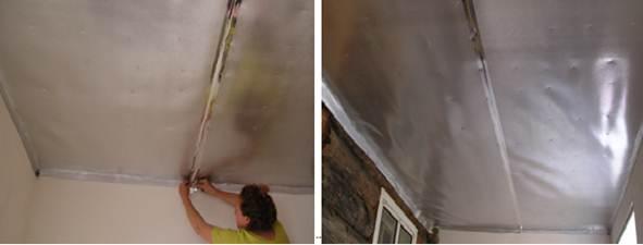 Монтаж пенофола на потолок фото