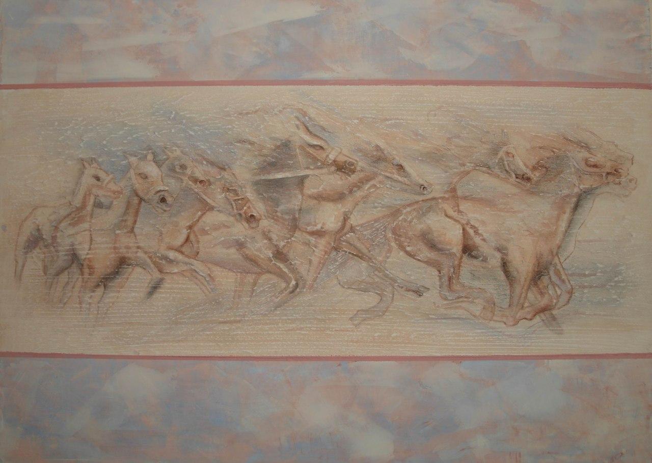Объемный рисунок из штукатурки на стене