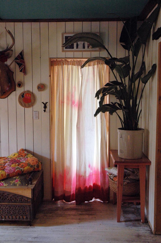 шторы омбре в розово-винных тонах