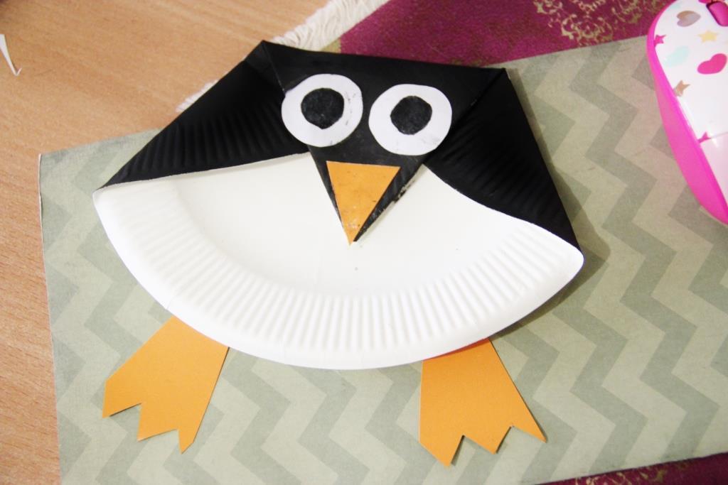 Пингвин из бумажной тарелки