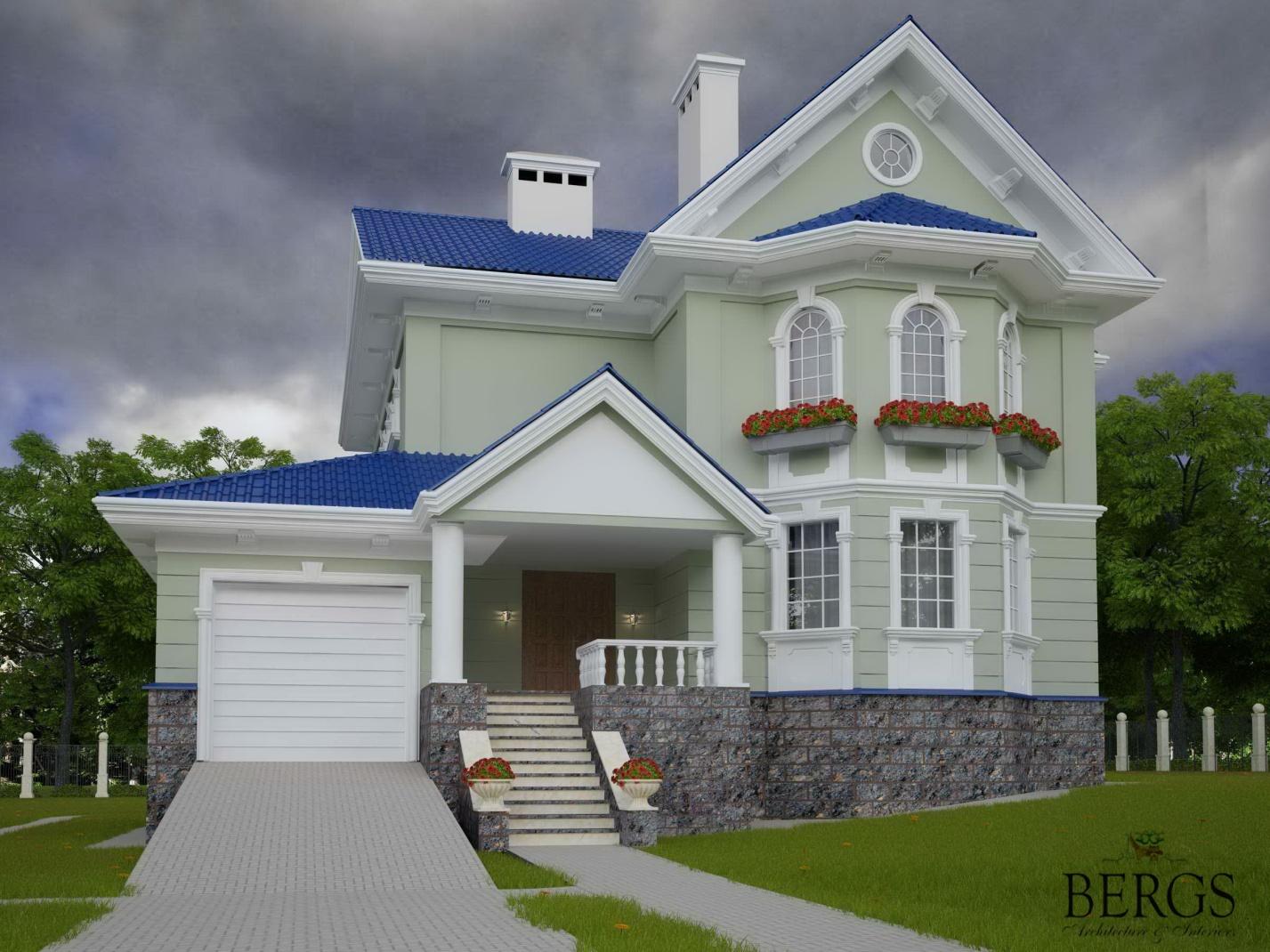Загородный дом с эркерными окнами