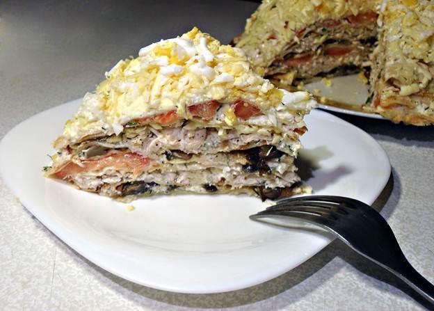 Рецепт блинный торт с грибами и сыром рецепт с фото