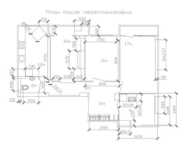 План трехкомнатной квартиры после перепланировки