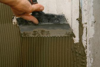 накладываем цементный раствор
