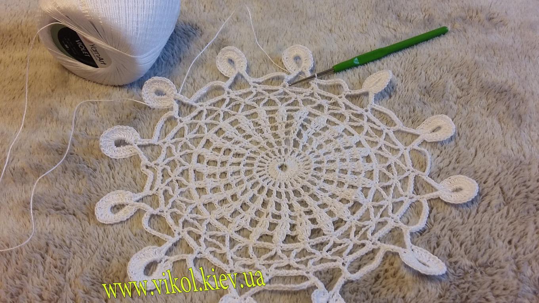 вязание легкой салфетки