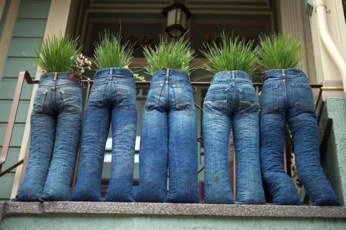 Горшки из джинсов