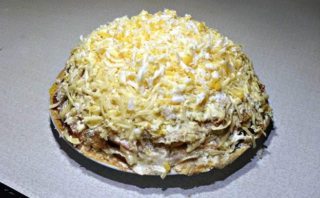 как приготовить из блинов торт с курицей