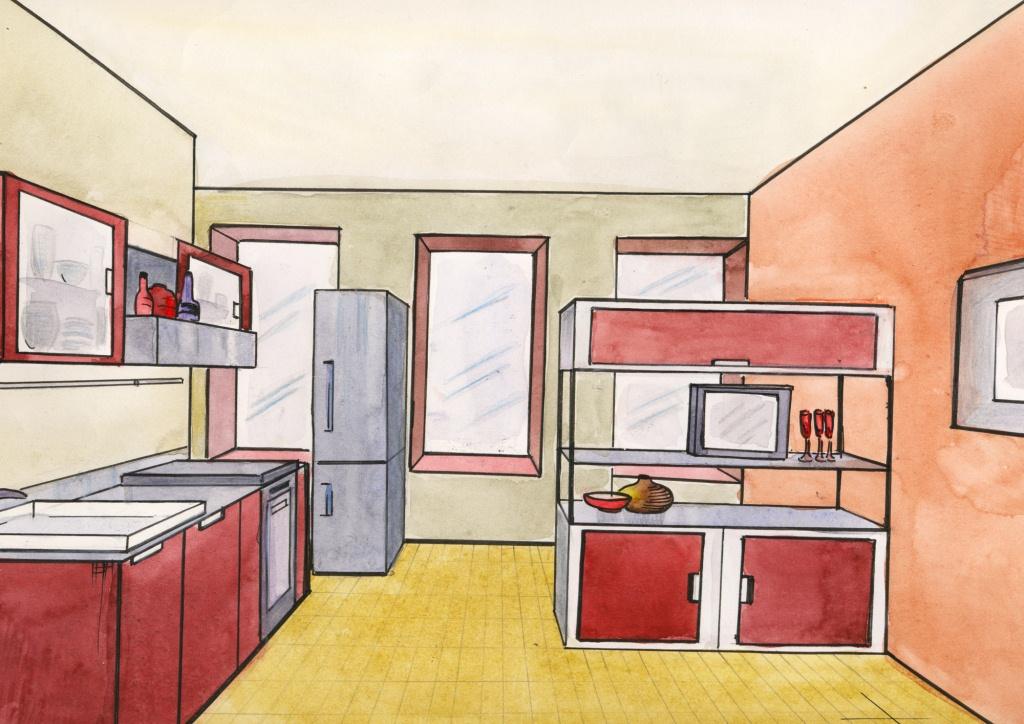 Эскизное решение интерьера кухни
