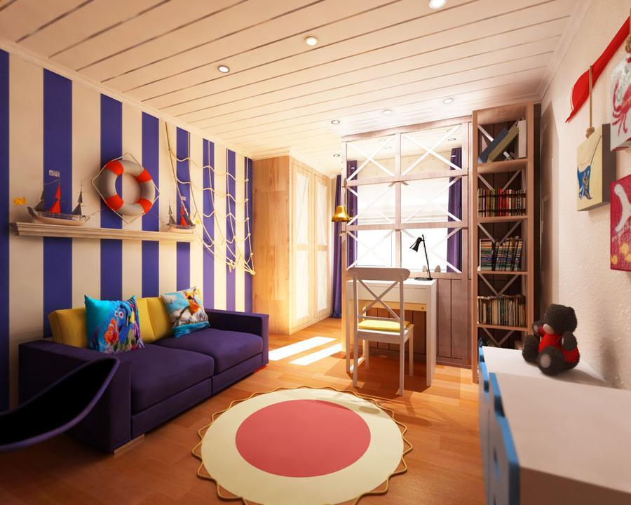 дизайн детской комнаты для мальчика в морской тематике