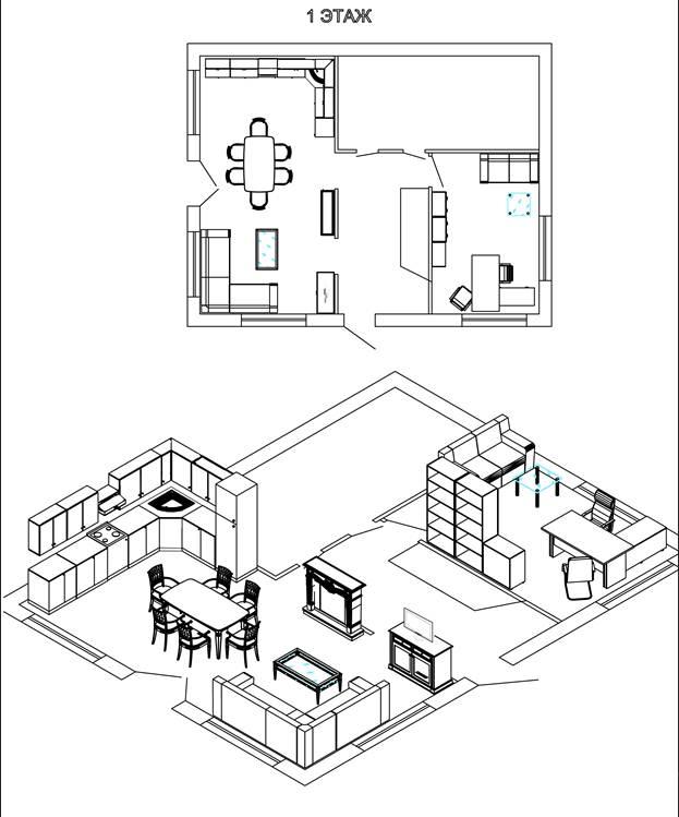 Вариант планировки и эскиза кухни и рабочего кабинета в коттедже